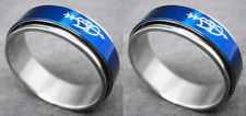 R082P Stainless Steel Spin Ring Love Heart Blue You Pick Ring Size