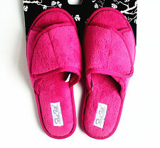 Rene Rofe Women's Microterry Velcro Adjustable Slippers Pink Size S M L XL NEW