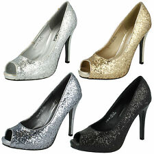 LADIES SPOT ON PEEP TOE HIGH HEEL GLITTER COURT SHOES F1758 FOUR COLOURS