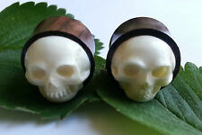 1 Pair Organic Hand Carved 3D Skull Bone Inlay Sono Wood Ear Plugs Tunnels Gauge