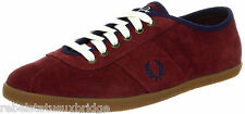 FRED PERRY Shoes Unisex Trainer Hayes Unlined Suede Navy,Burgundy UK 6 - 11