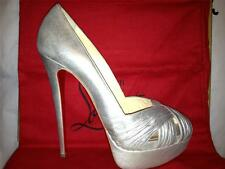 Christian Louboutin ABORINA 150 Metallic Silver Twist Platform Heels Pump Shoes