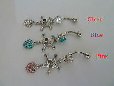 Belly ring Dangle/Bar,316L Surgical/CZ (clear/pink/Blue) Body jewellery/Piercing