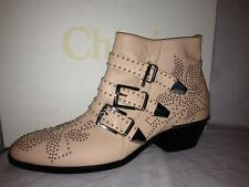 Chloe Susannah Susan Susanna Leather Studded Buckled Ankle Booties Boots Cipria