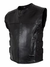 Motorcycle biker 'SWAT' style mens leather vest with two gun pockets