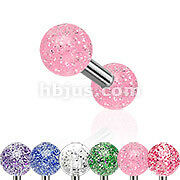 316L Surgical Steel Tragus/Cartilage Barbell with Ultra Glitter UV Ball