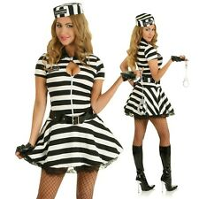 Adult Female Jail Convict Prisoner Role Play Fancy Dress Party Outfit Costume