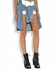 Rihanna River Island White Denim Hotpant Shorts Denim Tied Shirt BNWT UK 8 US 4