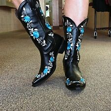 NEW!  Pecos Bill Ladies Boots Black w/ Turquoise Flowers