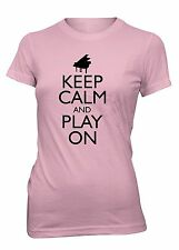 Junior's Keep Calm and Play On Piano Funny T-Shirt Music Keyboard Concert Tee