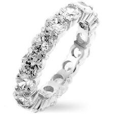 Eternity Band Ring-Sterling Silver (925) Round CZ's-approx 5mm-5.1g-Size Select