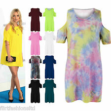 Womens Tie Dye Mini Dress Cut Out Shoulder Oversized Top T Shirt Baggy Tunic New
