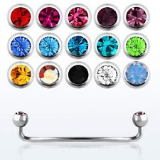 """14GA~5/8"""" to 1-1/2"""" 316L Surgical Steel w/ Double Gems Surface Piercing Barbell"""