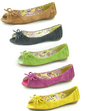 LADIES SPOT ON  FLAT PEEP TOE CASUAL SUMMER SHOES WITH BOW F1929 5 COLOURS