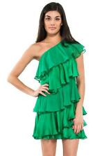 Halston Heritage One Shoulder Tiered Short Dress Grass Green Ruffle Silk chiffon