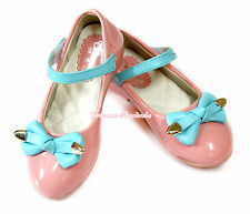 Light Pink Enamel Leather Light Blue Bow Wedding Party Dace School Shoes 888