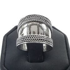 Bali 925 Sterling Silver Triple Rope Edge Design Wide Cigar Band Ring (RG12045)