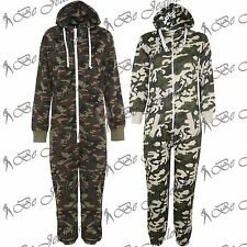 Ladies Military Army Womens Mens Camo Print Zip Onesie All In One Piece Jumpsuit