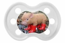 100% UNIQUE PERSONALISED DUMMY/PACIFIER/SOOTHER, 3 COLOURS 2 SIZES, PIG IN BOOTS