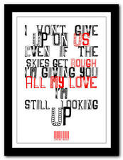 JASON MRAZ - I Won't Give Up 2- song lyric poster art typography print - 4 sizes
