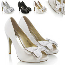 WOMENS BRIDAL DIAMANTE LADIES WEDDING PLATFORM STILETTO HEEL PARTY SHOE SIZE 3-8