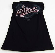 Womens NEW Skin Industries Black Pink Wings Tube Top Graphic T-Shirt Size S M L