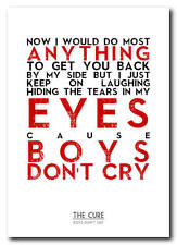 THE CURE - Boys Don't Cry - song lyric poster art typography print - 4 sizes