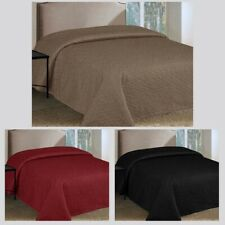 3 Colors - QUEEN Cotton Filled Bedspread / Coverlet - BLACK BURGUNDY COFFEE