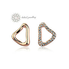 Simulated Diamond Clear Crystal/Triangle Stud Earring/Rose gold/RGE315G