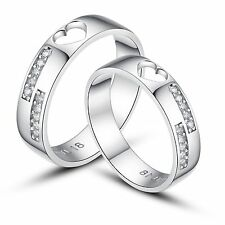 His and Hers Certified Sterling Silver Promise Rings Wedding Rings