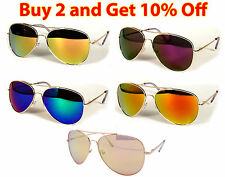 GOLD METAL FRAME COLOR REFLECTIVE MIRROR LENS AVIATOR SUNGLASSES SHADES UV400