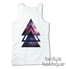 TRIANGLE HIPSTER HIP DIAMOND GALAXY SPACE VEST TOP TANK MENS WOMENS 90s 80s VTG
