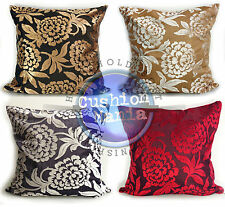 LARGE SET OF 4 CUT VELVET FLORAL SCATTER CUSHIONS + COVERS IN 4 LOVELY COLOURS