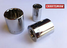 "Craftsman 1/2"" Drive 12 Point INCH Shallow Socket -CHOOSE SIZE-FREE S&H"
