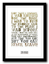 EAGLES - Hotel California - song lyric poster art typography print - 4 sizes