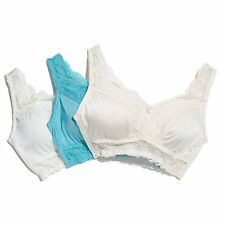 """Rhonda Shear """"Pin Up""""3-pack Lace Leisure Bra 230113 Turquoise(472473) NOW $17.99"""