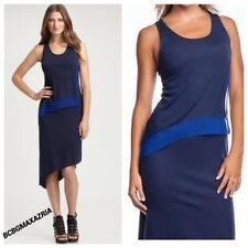 BCBG Max Azria Jolene Dress Dark Ink Combo High Low Hem Racerback Knit blue Navy