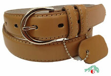 WOMEN/LADIES Skinny Leather Belt Tan Size S M L XL $4.99 Free Shipping