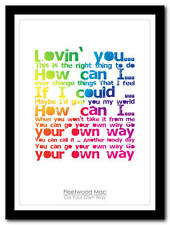 Fleetwood Mac - Go Your Own Way song lyric poster typography art print - 4 sizes