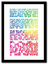 GLORIA GAYNOR - I Will Survive  song lyric poster typography art print - 4 sizes