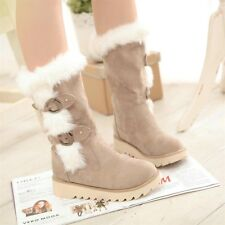 Women's Faux fur winter warm snow boots platform wedge buckle shoes US5-US10