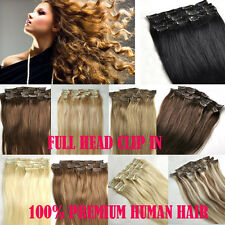 CLIP IN REMY REAL 100% HUMAN HAIR EXTENSIONS FULL HEAD MANY COLORS ANY LENGTH UK