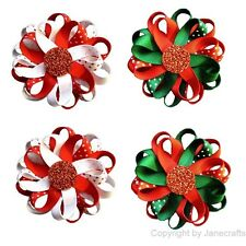"12pcs Girls Baby 3"" Christmas Boutique Flower Loop Ribbon Hair Bow Clips Lot"