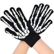 Black Graphic Gloves with Glowing Skeleton and Skull Prints