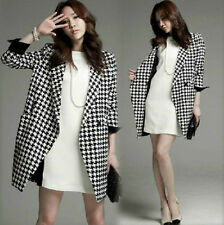 Womens Stylish Houndstooth Fit Slim V Neck Coats Jackets Long Outerwears Parka