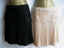Darling Nude / Black Felicia Skirt S-XL / 10-16 Fitted Lace & Pleated Bottom