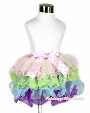 Baby Girl Pink Lime Green Rainbow Pink Hot Pink Dots Bow Petal Pettiskirt NB-8Y