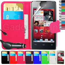 PU LEATHER WALLET FLIP CASE COVER ACCESSORIES FOR HUAWEI ASCEND G510 & FILM