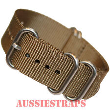 PREMIUM ZULU® 5 Ring OLIVE BROWN military diver's watch strap band NYLON new