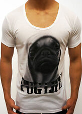 NEW MENS DEEP SCOOP NECK T SHIRT SLIM FIT PUG LIFE CASUAL FASHION DESIGNER WHITE